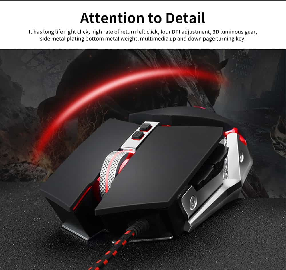 E-sports Game Mouse with Adjustable 4-gears & No Backseat Game Machine Programming Standard, Support to PUBG Machine 3