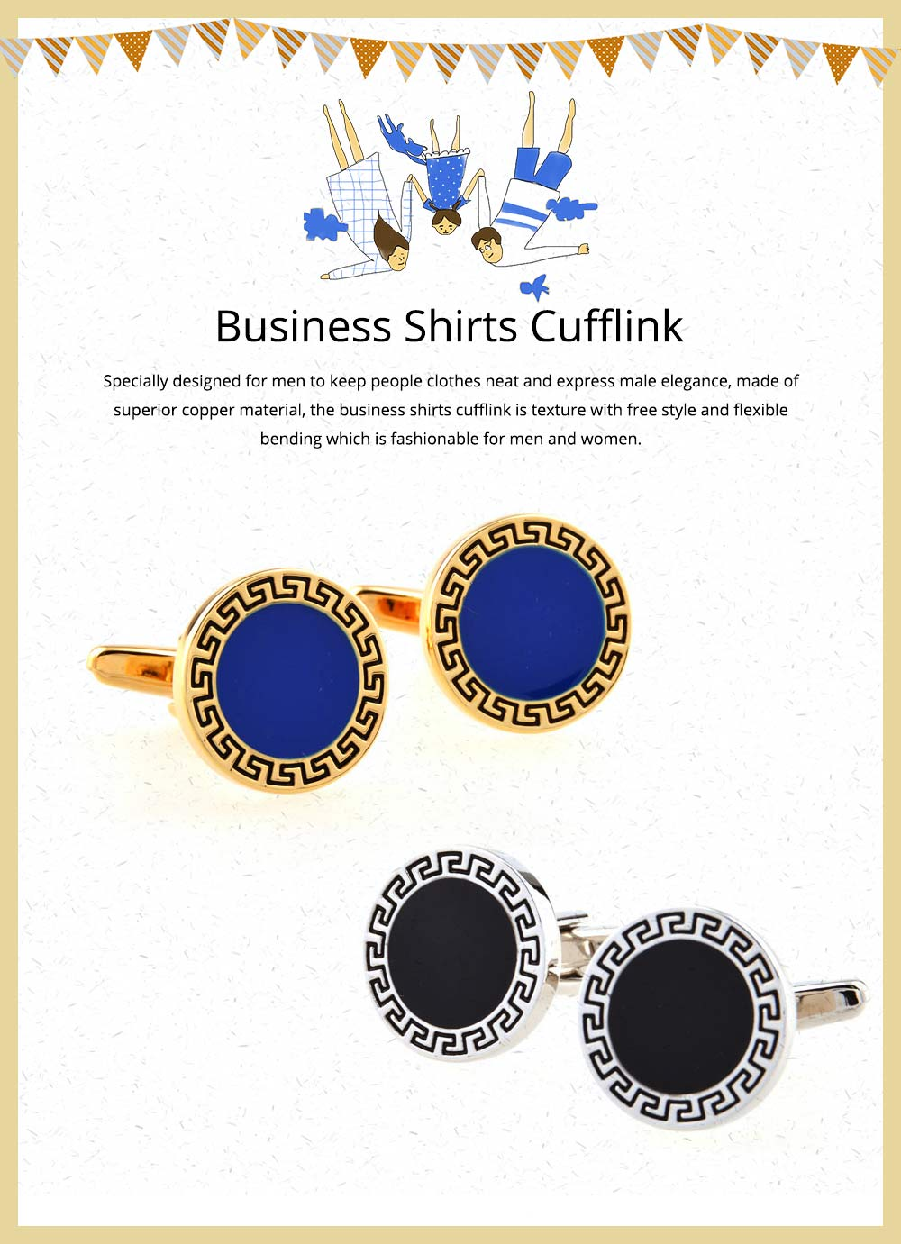 Business Shirts Cufflink of French Style, Multiple Style & Classical Cufflink, Texture Fashion Buttons 0
