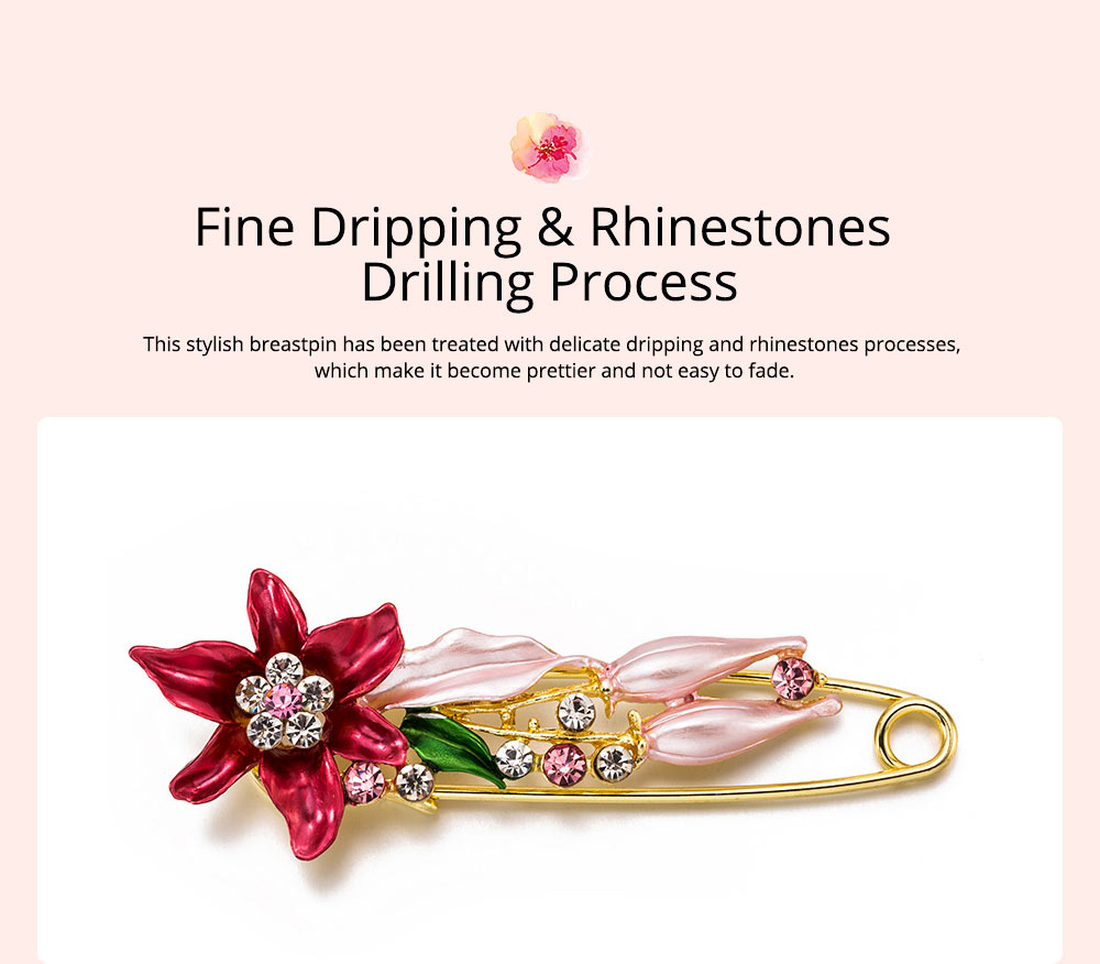 Elegant Dainty Lily Flower Dripping Alloy Breastpin for Women, Rhinestone Embellishment Bags Scarf Clothes Decoration Accessories Flower Brooch 2
