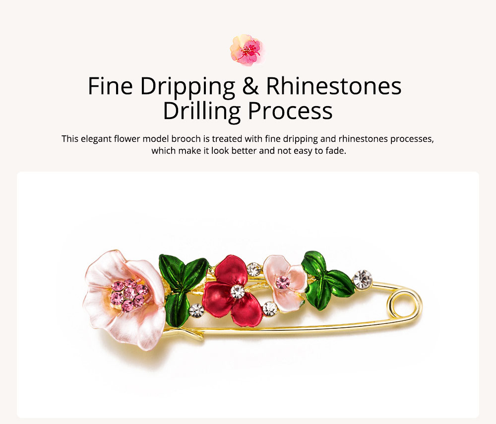 Flower Brooch for Women, High-end Fancy Oil Painting Brooches Pin Elegant Dresses Jewelry 2