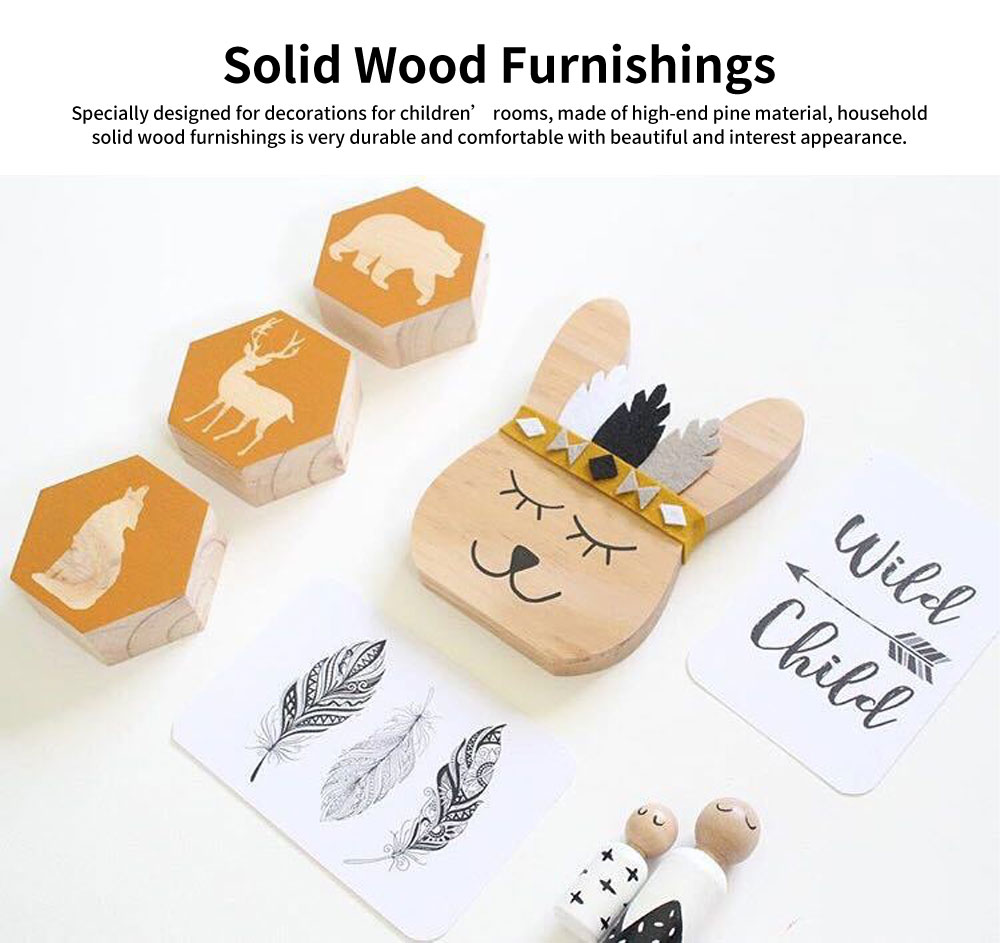 Rabbit Bear Fox Wood Craft Furniture Ornament Baby Kids Room Accessories Nordic Decoration Photography Prop 0