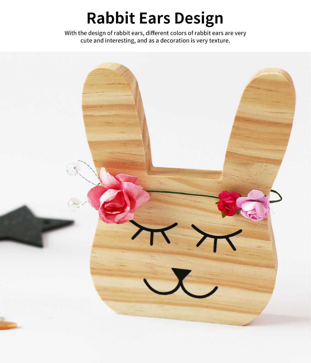 Rabbit Bear Fox Wood Craft Furniture Ornament Baby Kids Room Accessories Nordic Decoration Photography Prop 2