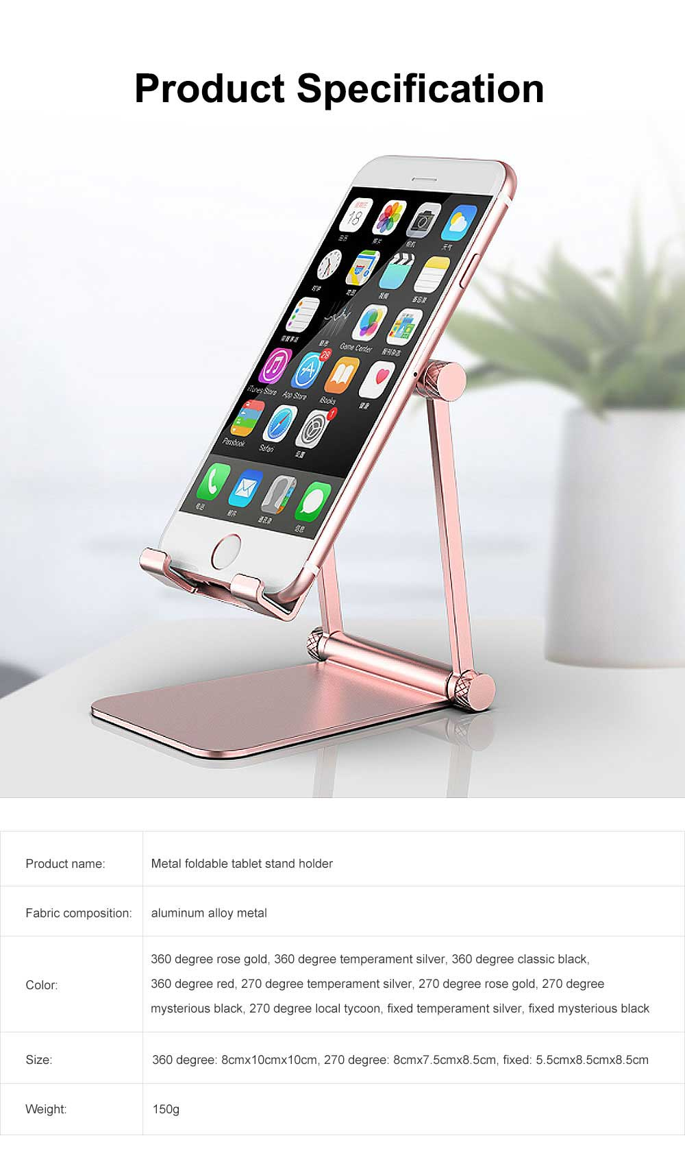 Aluminum Alloy Metal Flexable Tablet Phone Stand Holder, Desktop Foldable Adjustable Kickstand for Universal 8