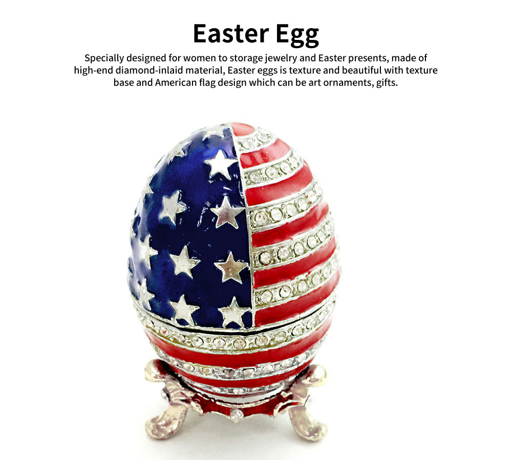 Easter Egg with American Flag Appearance, Enamelled Jewellery Case, Painted Metal Crafts Luxury Ornaments 0