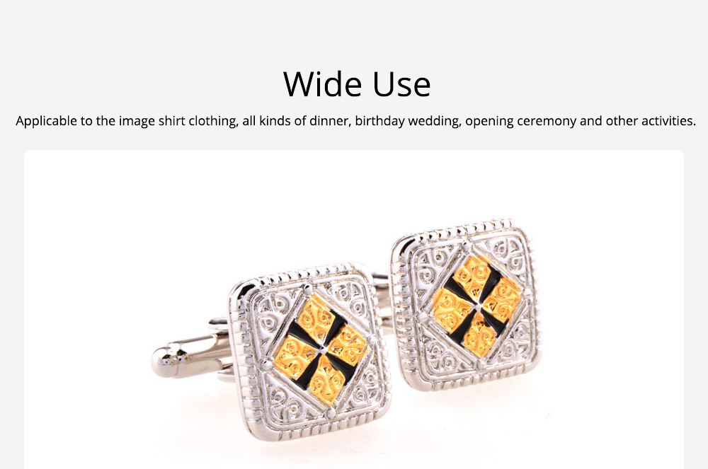French Style Cuff Links, Classical Cufflink of Color Matching, Electroplating Fashion Buttons 2
