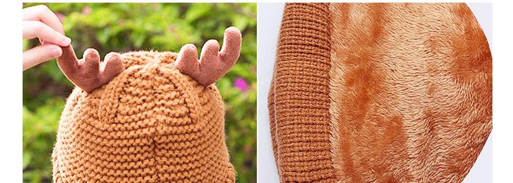 Cute Warm Children Deer Antler Beanie Cap Scarf Gloves 3 PCS Suit, Elegant Cartoon Animal Sewing Autumn Winter Christmas Accessories Set for Children 12