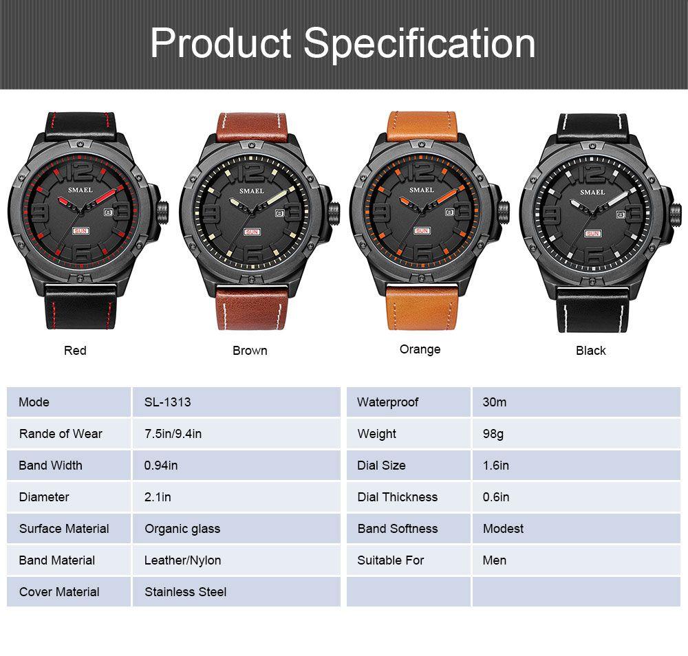 Waterproof Sport Watch with Calendar, Multifunctional Leather Band Sport Watchfor Men 6