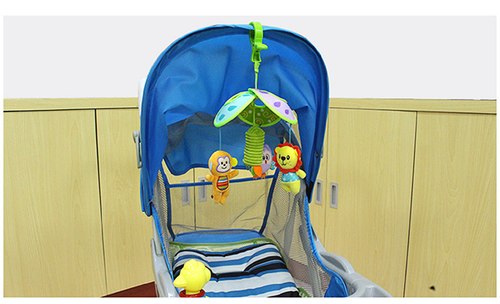 Cute Carton Forest Ocean Animal Series Baby Mobiles, Pacification Toy Wind Bell with Three Leaves Rotation Design for Infants 3