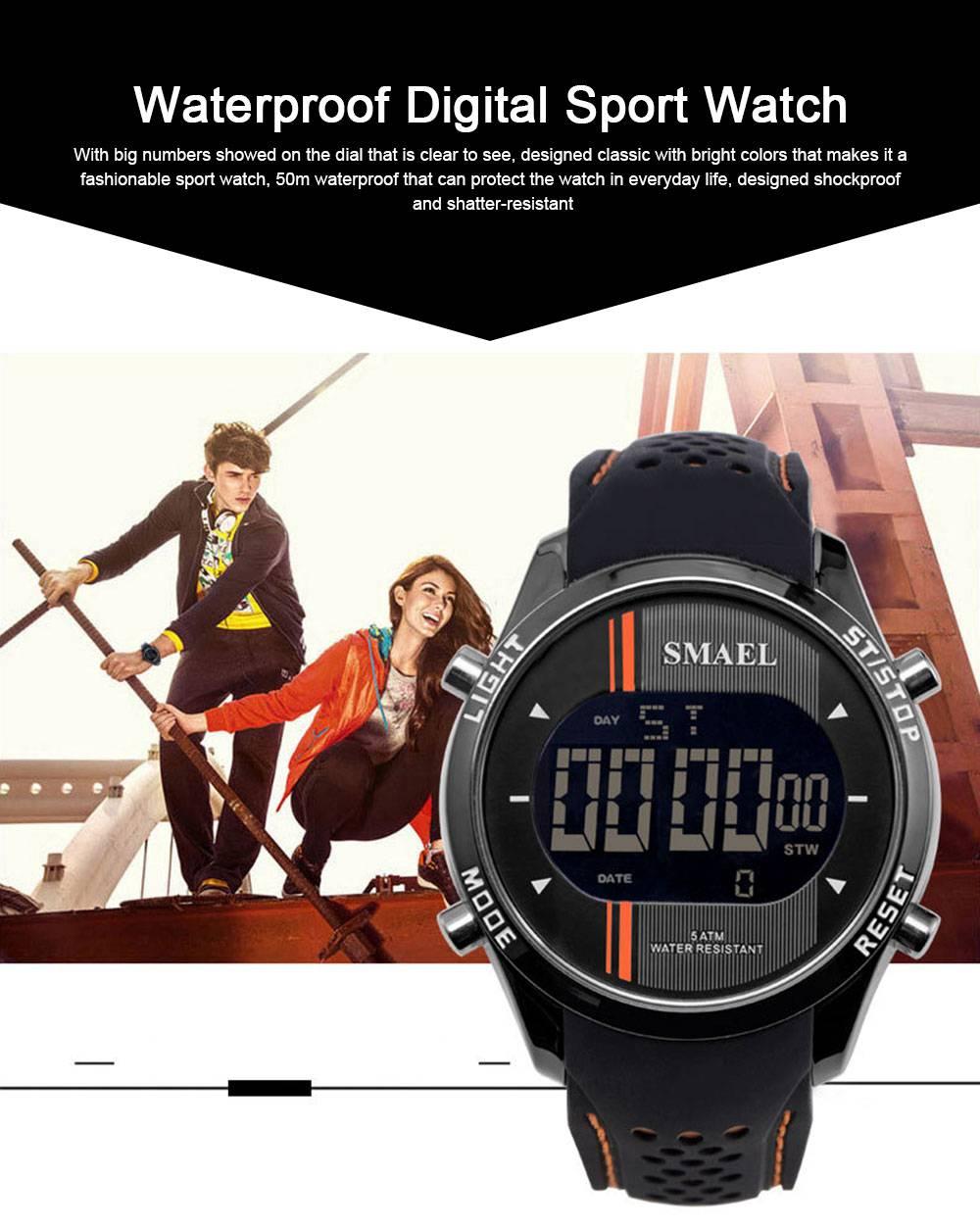 Digital Sport Watch for Men, Multifunctional Smartwatch 50M Waterproof Outdoors Watch 0