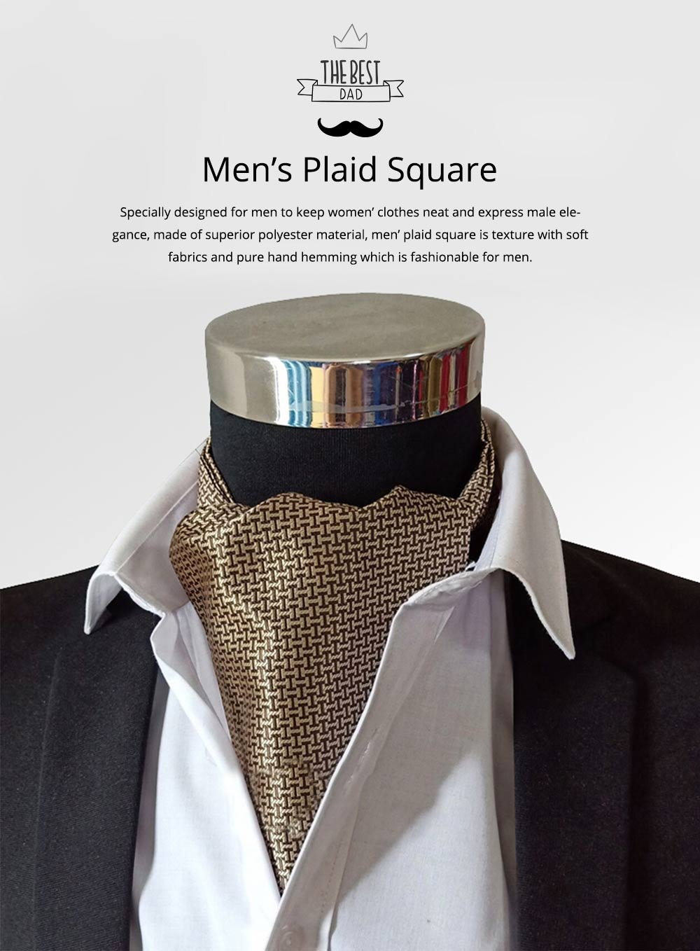 Men's Plaid Square with Pure Hand Hemming, Scarf Collar, Silk Scarves Preventing Bask in A Suit 0
