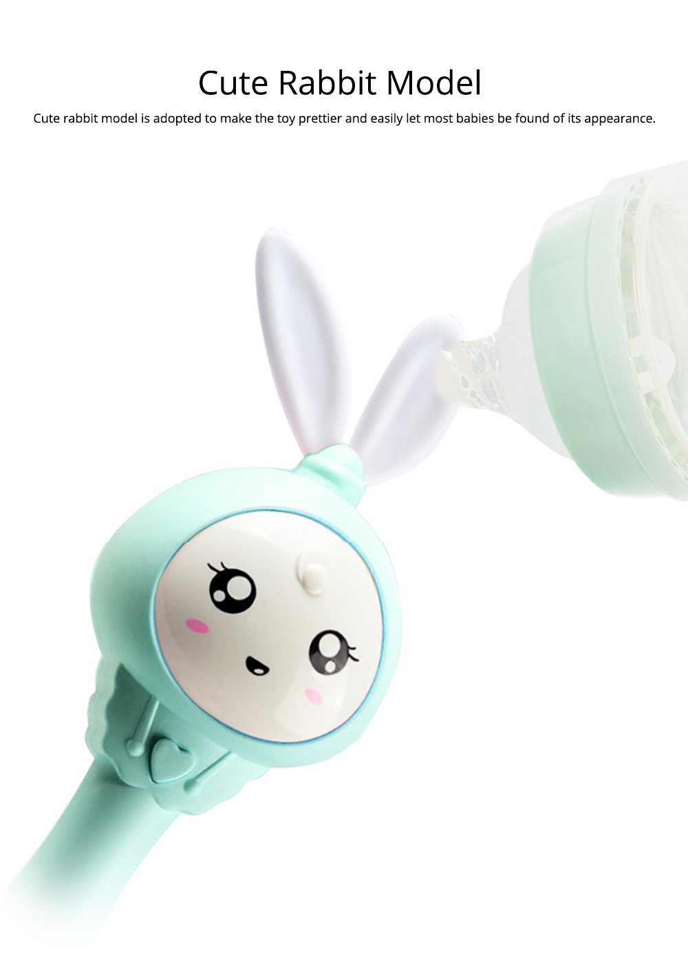 Cute Rabbit Model Babies Grinding Gum Teether Toy, Creative Music Colorful Light Molar Bite Toy for Infant Kids 7