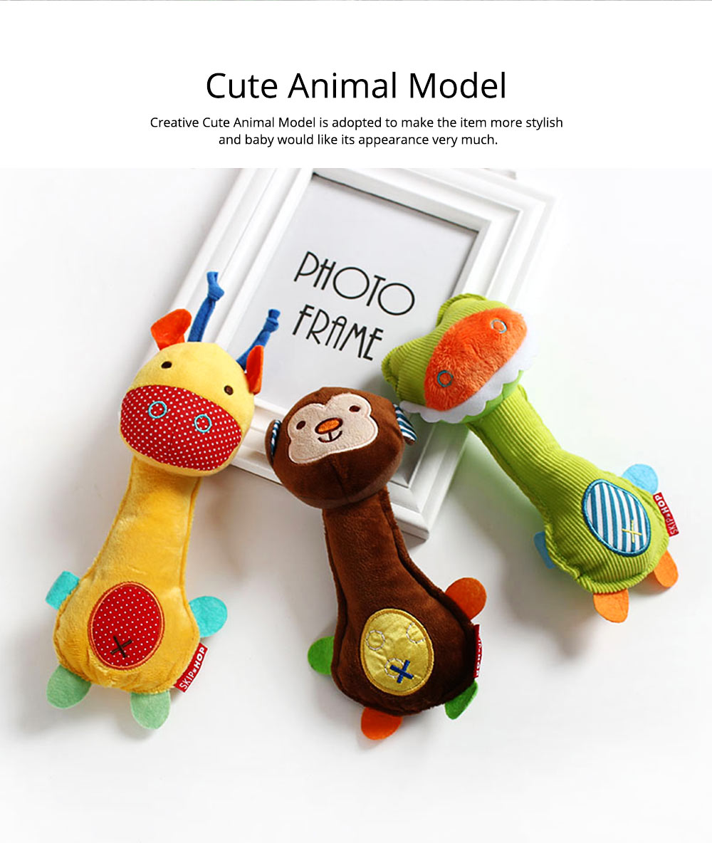 Ultrasoft Short Plush Babies Rattle with BB Device, Cute Animal Model Hand Bell Early Education for Infants Children 6