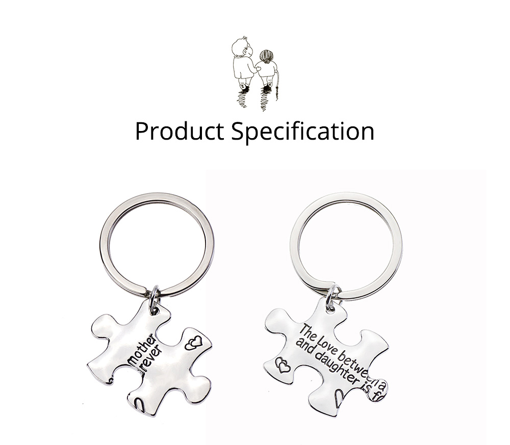 Mother Daughter Inspirational Key Chain, Stainless Steel Engraved Key Chain Universal Key Ring Pendant 6