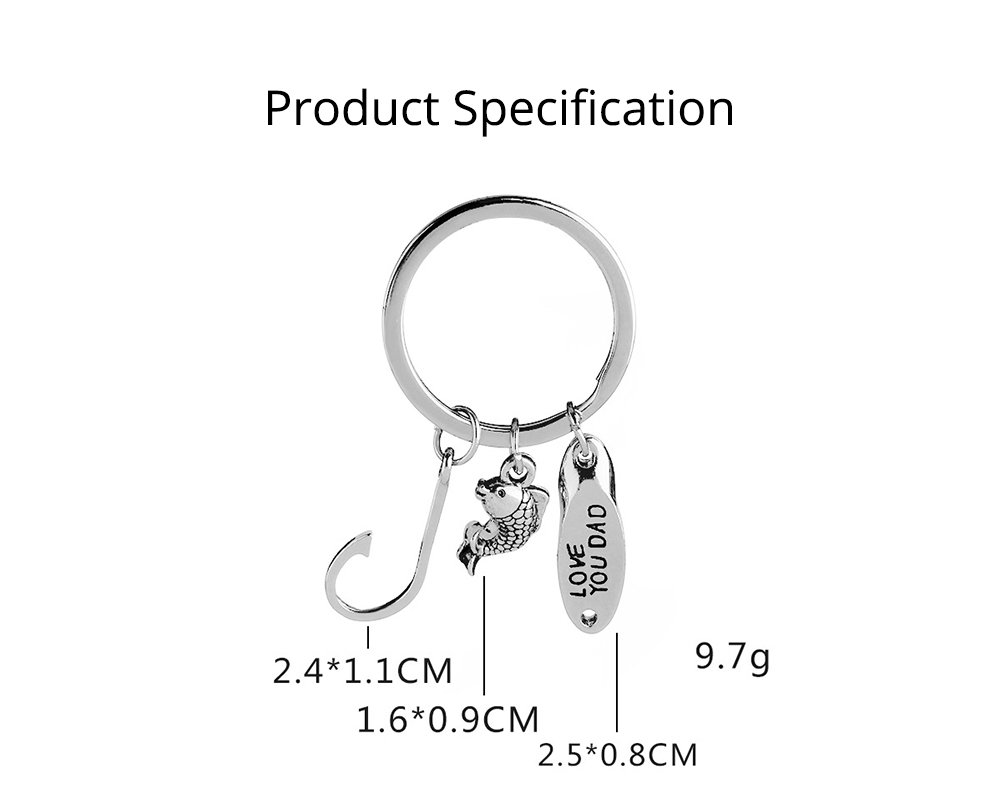 Key Chain of Fish Hook Design with Smear Lettering, Engraved Stainless Steel Key Ring Pendant for Father's Day Gift 6