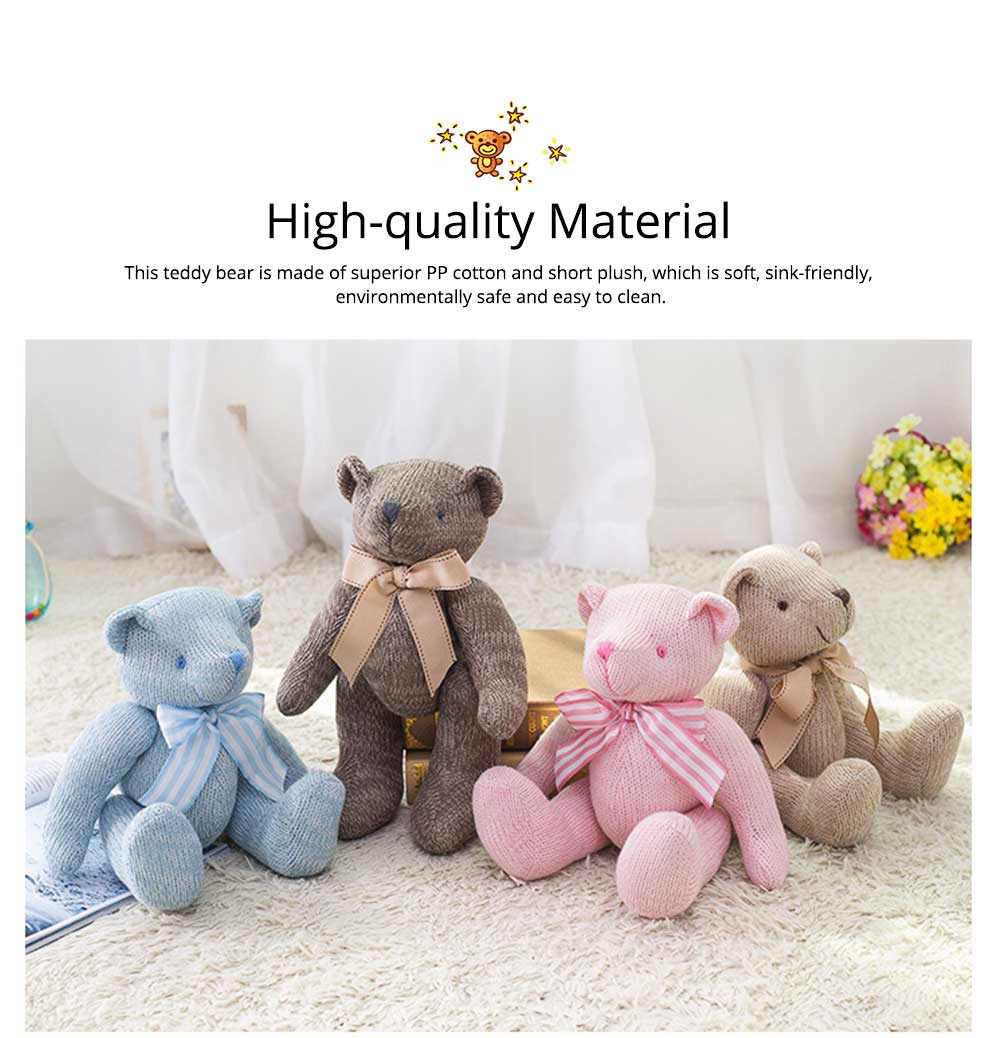 Cute Jointed Teddy Bear Doll with Bow Decoration, Animal Carton Fluffy Toy Birthday Present Gift for Children 1