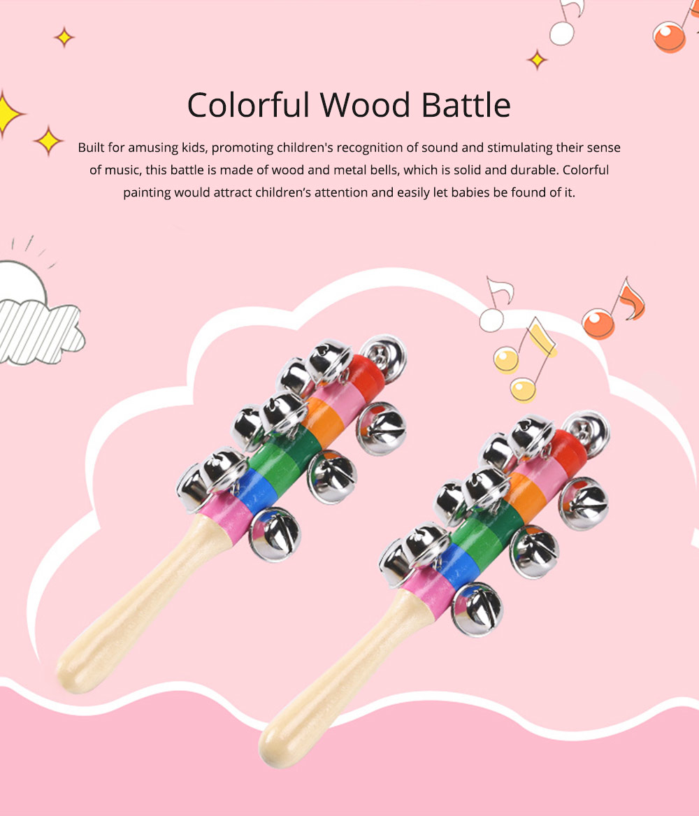 Colorful Instruments Baby Rattles Bell Toys, Wooden Handle Bells Rattle Baby Children Bell Music Toys 0