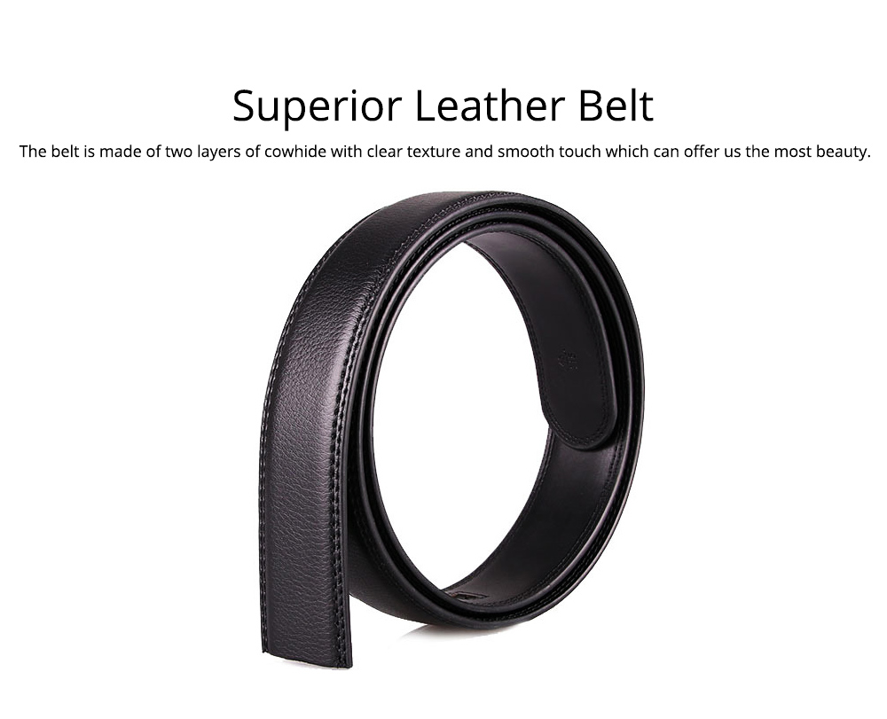 Men' Alloy Automatic Buckle Belt with Stainless Steel Buckle, Second Floor Leather Polished Stone Business Belt 3