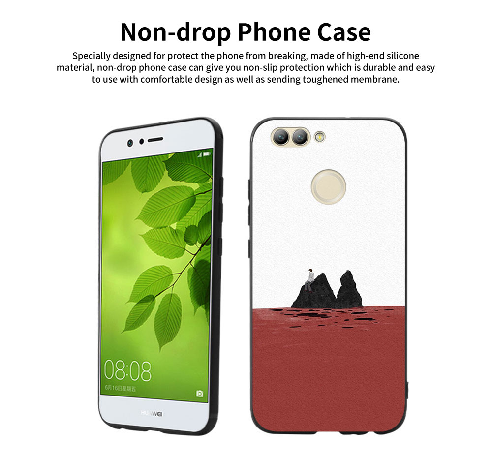 Non-drop Phone Case for HUAWEI nova, nova 2/2s plus, nova 3/3e/3i, nova 4, HD Colorless Painted Soft Shell Full Package with Contracted Painting Design 0