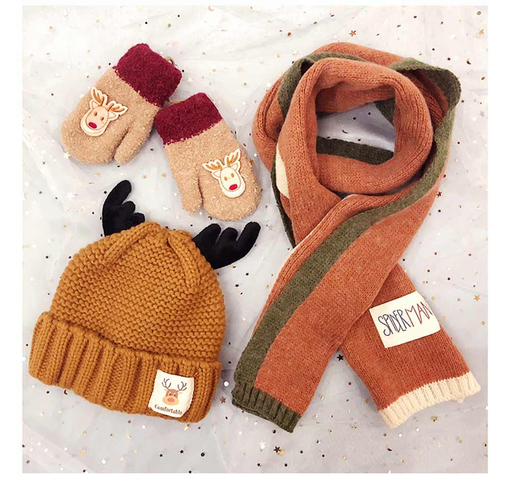 Cute Warm Children Deer Antler Beanie Cap Scarf Gloves 3 PCS Suit, Elegant Cartoon Animal Sewing Autumn Winter Christmas Accessories Set for Children 4
