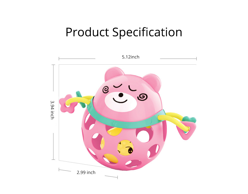 Silicone Rattles Grip Ball Teether with Cute Carton Animal Model, Delicate Funny Ultrasoft Silica Gel Puzzle Toy for Babies Children 6