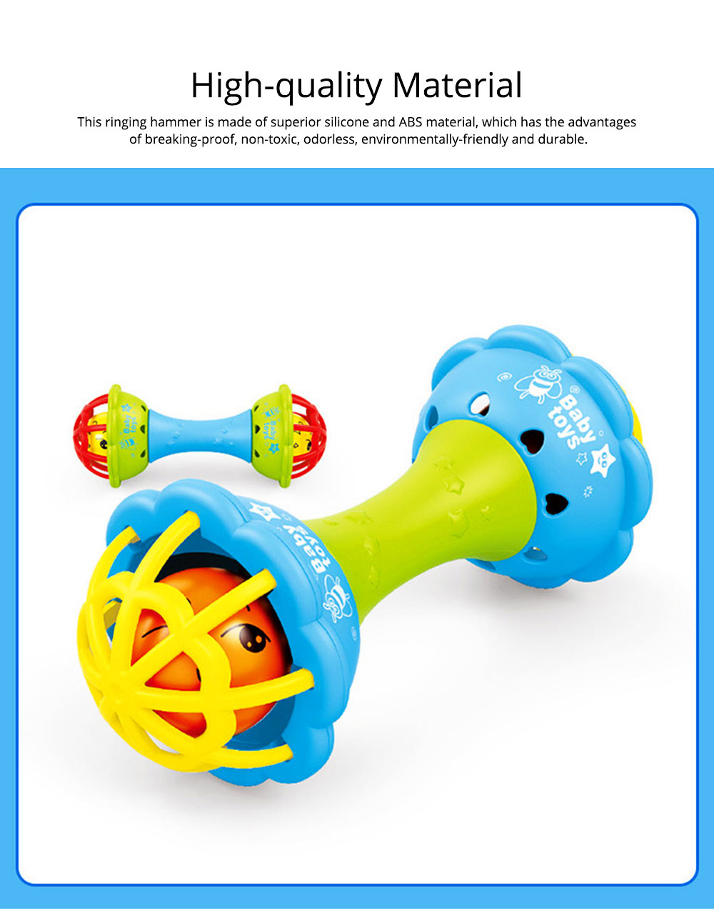 Soft Silicone Teether Plastic Hand Bell Hammer, Solid ABS Handbell Rattle Babies Early Education Toy 1