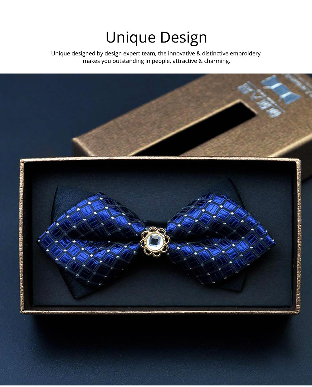 Elegant Groom Bow Tie for Men Boys - Various Style in Different Color, Gentleman Grid Bow Tie Set with Bead 1