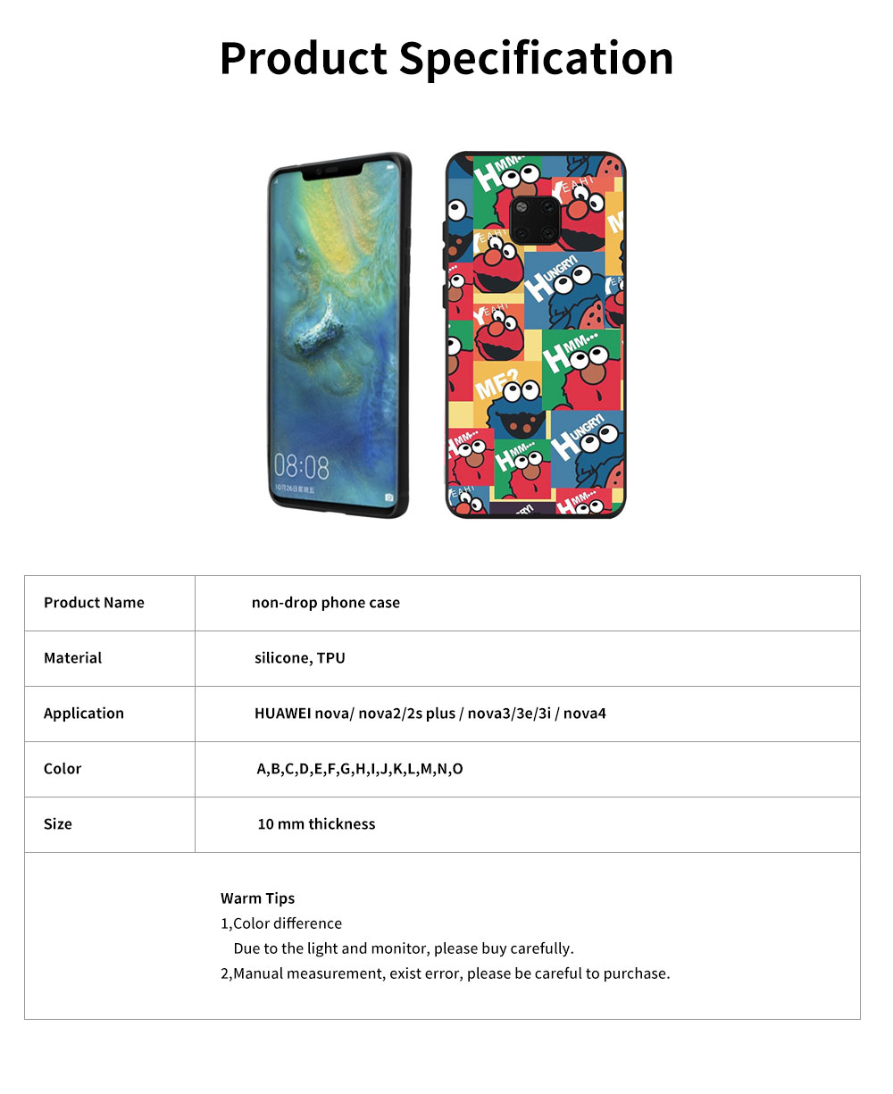 Cute Protective Cover for HUAWEI mate 20/20x/mate 10/mate 9/9 pro, HD Colorless Painted Soft Shell Full Package Tile Cartoon Monsters Case 13
