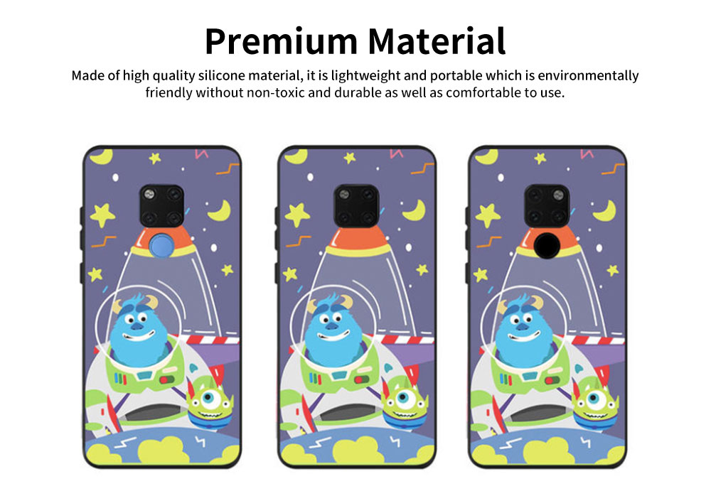 Cute Protective Cover for HUAWEI mate 20/20x/mate 10/mate 9/9 pro, HD Colorless Painted Soft Shell Full Package Tile Cartoon Monsters Case 7