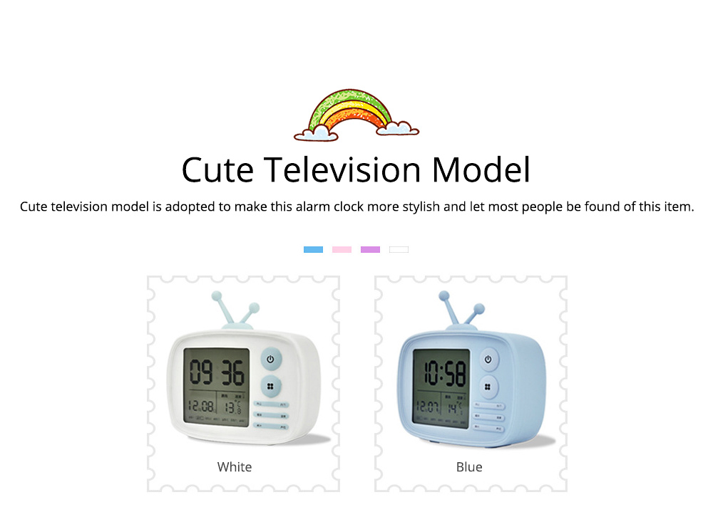Creative Television Model Intelligent Digital Alarm Clock Watch, Stylish Funny Clock with Sound Reminder Two Light 11