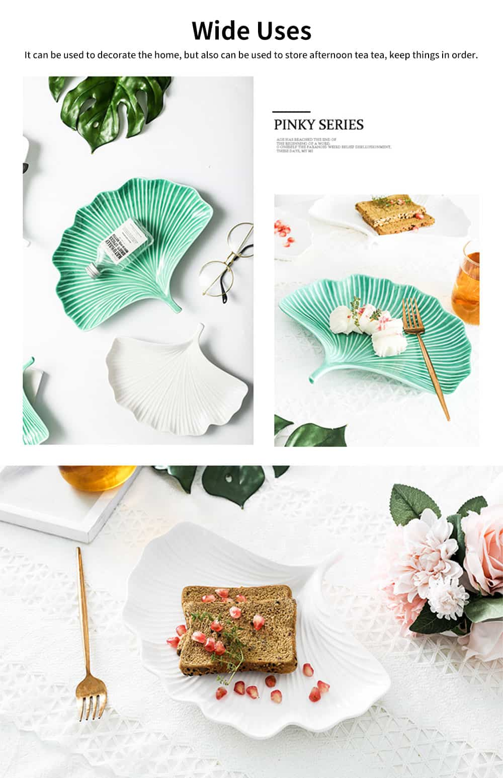 Creative Dessert Jewelry Storage Plate with Ginkgo Modeling & Streamline Design for Daily Decoration 4
