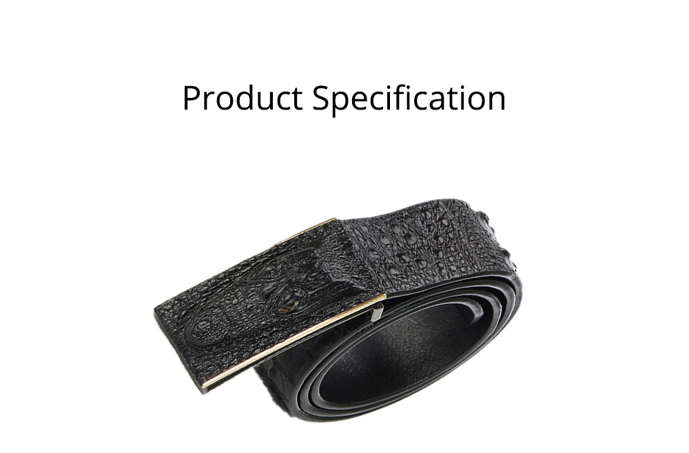 Men's Alloy Buckle Belt with Crocodile Smooth Buckle, Premium Leather Polished Stone Business Belt for Father's Day 10