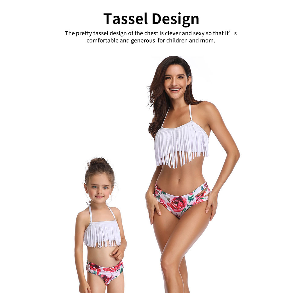 Parent-child Swimsuit with Tassel & Adjustable Back Strap design, Lovely Split Bikini with Three Broadband Waist 3