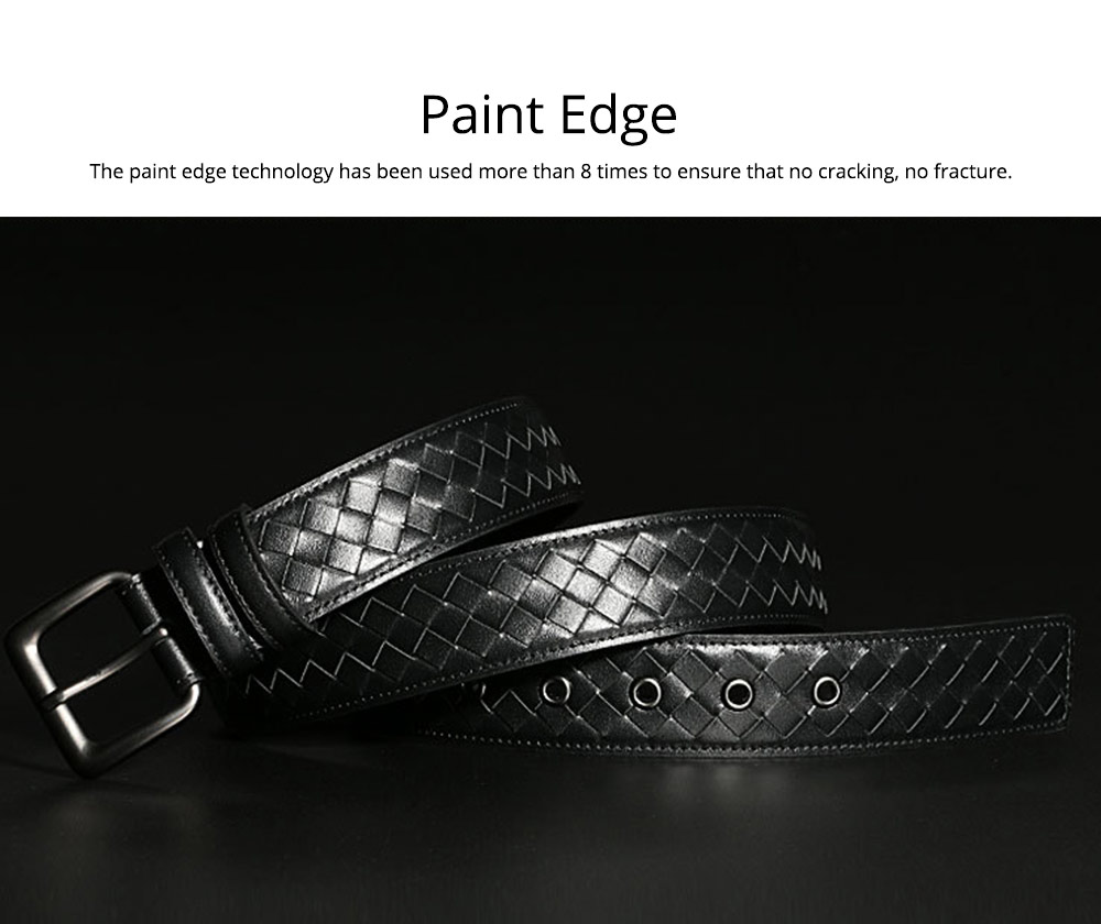 Father's Day Woven Men's Belt, First Layer Leather Belt with Texture Alloy Pin Buckle, Automatic Buckle Business Belt 3