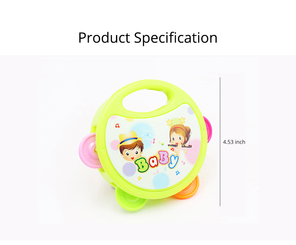 Colorful Baby Hand Bell with Cute Painting, Delicate Solid Plastic Children Tambourine Rattle Early Education Toy 7