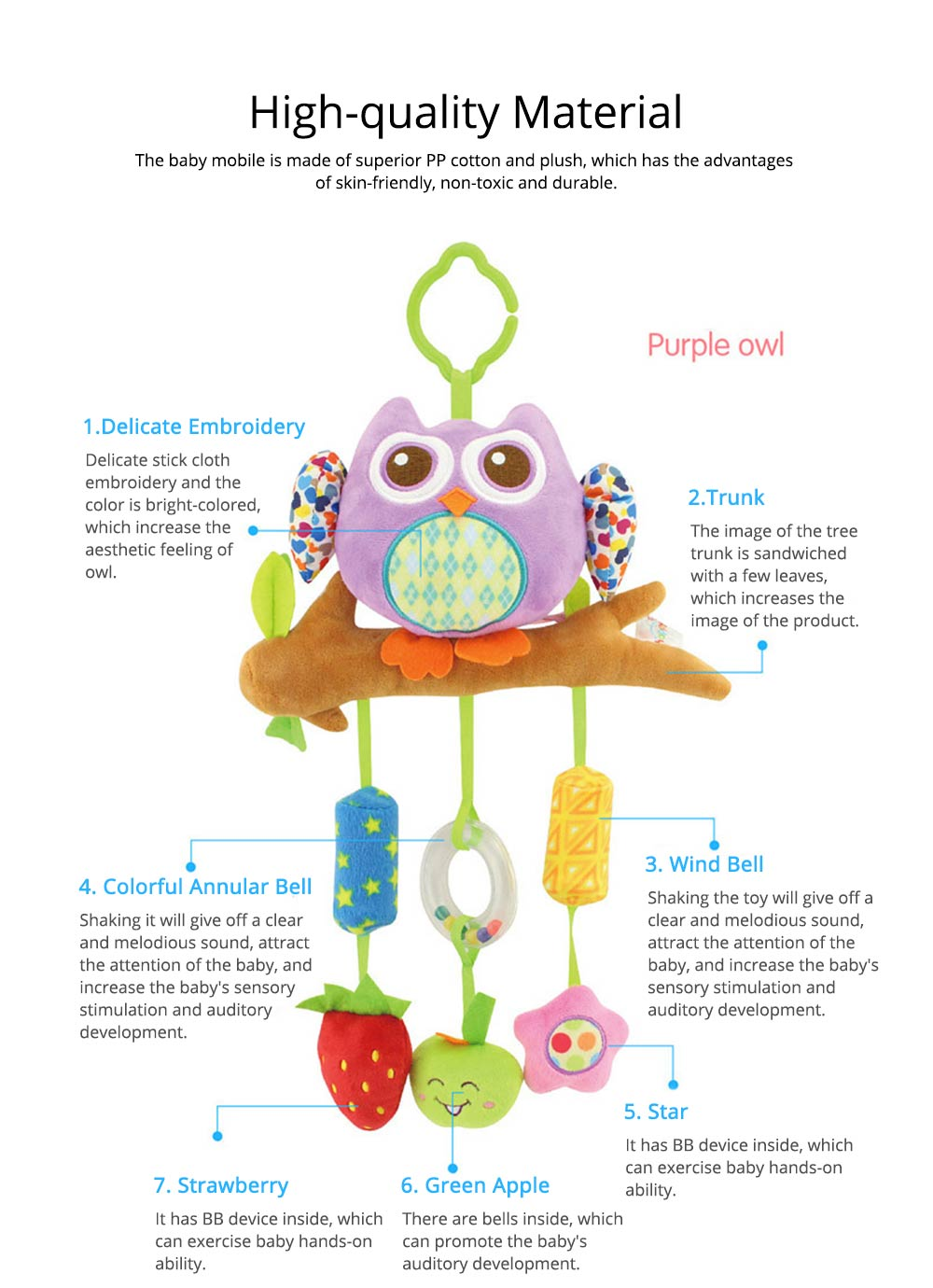 Cute Cartoon Animal Plush Baby Mobile, Delicate Fancy Pacification Early Education Stroller Hanging Toy for Infants Babies 1