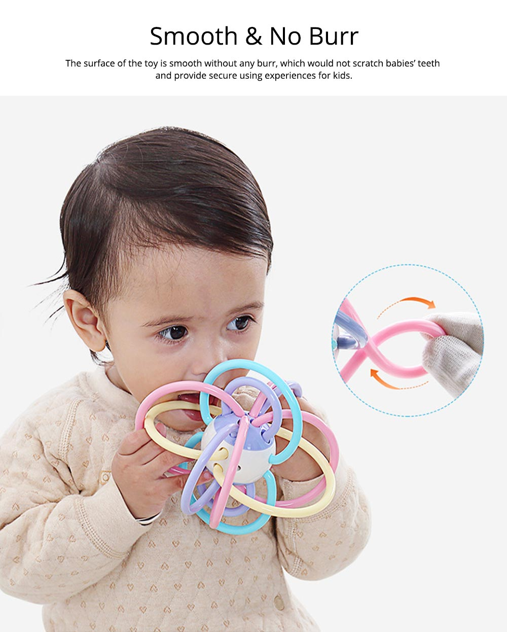 Creative Infant Grasping Spin Handbell Sensory Teether, Flexible Soft TPU Teething Early Education Rattle Toy 3