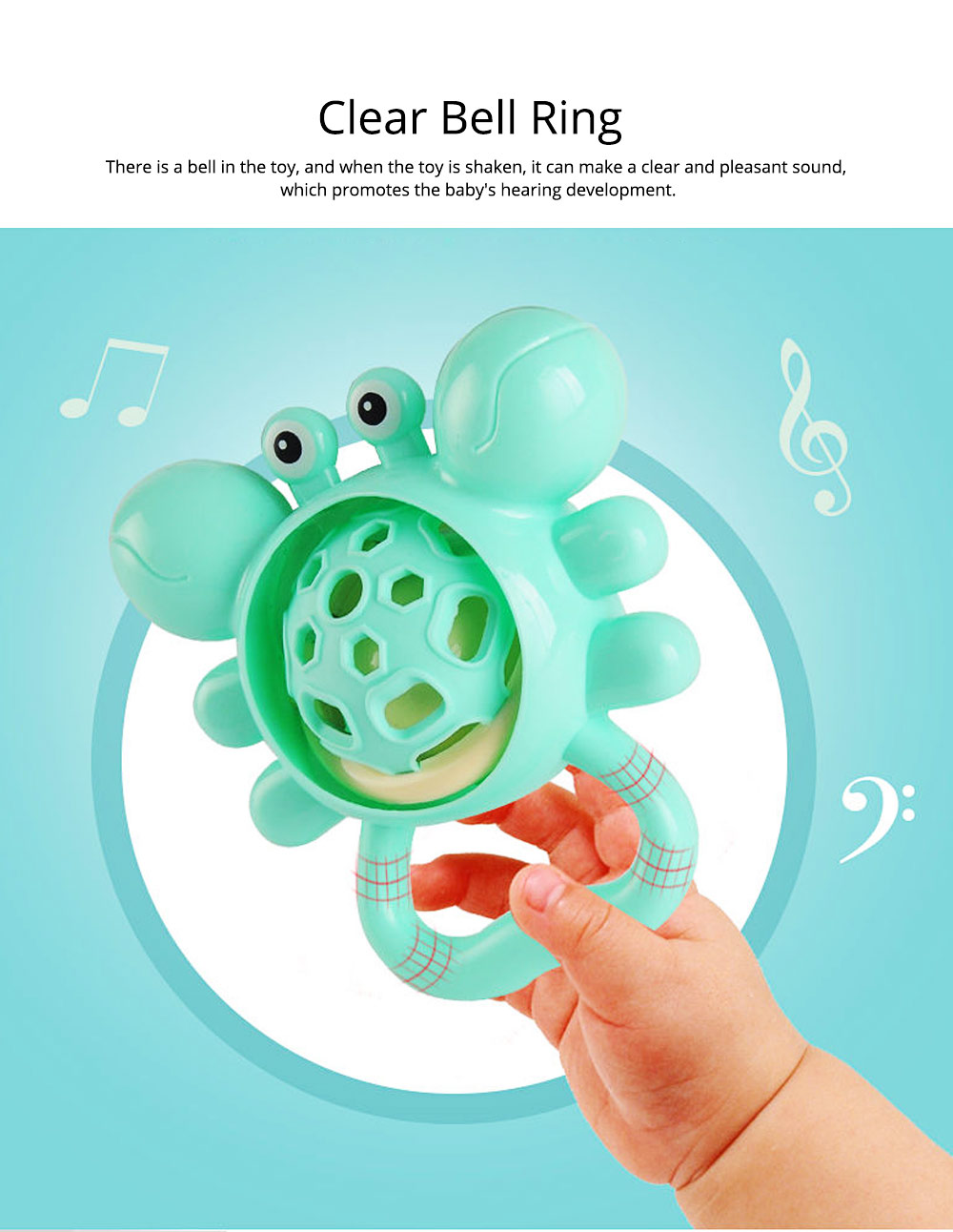 Cute Animal Dumbbell Car Model Teether Molar Rattle for Infants,Flexible Soft Environmentally Safe Plastic Grinding Gum Toy 3