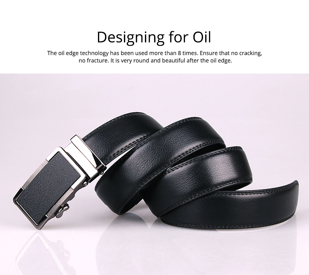 Men' Alloy Automatic Buckle Belt with Stainless Steel Buckle, Second Floor Leather Polished Stone Business Belt 2