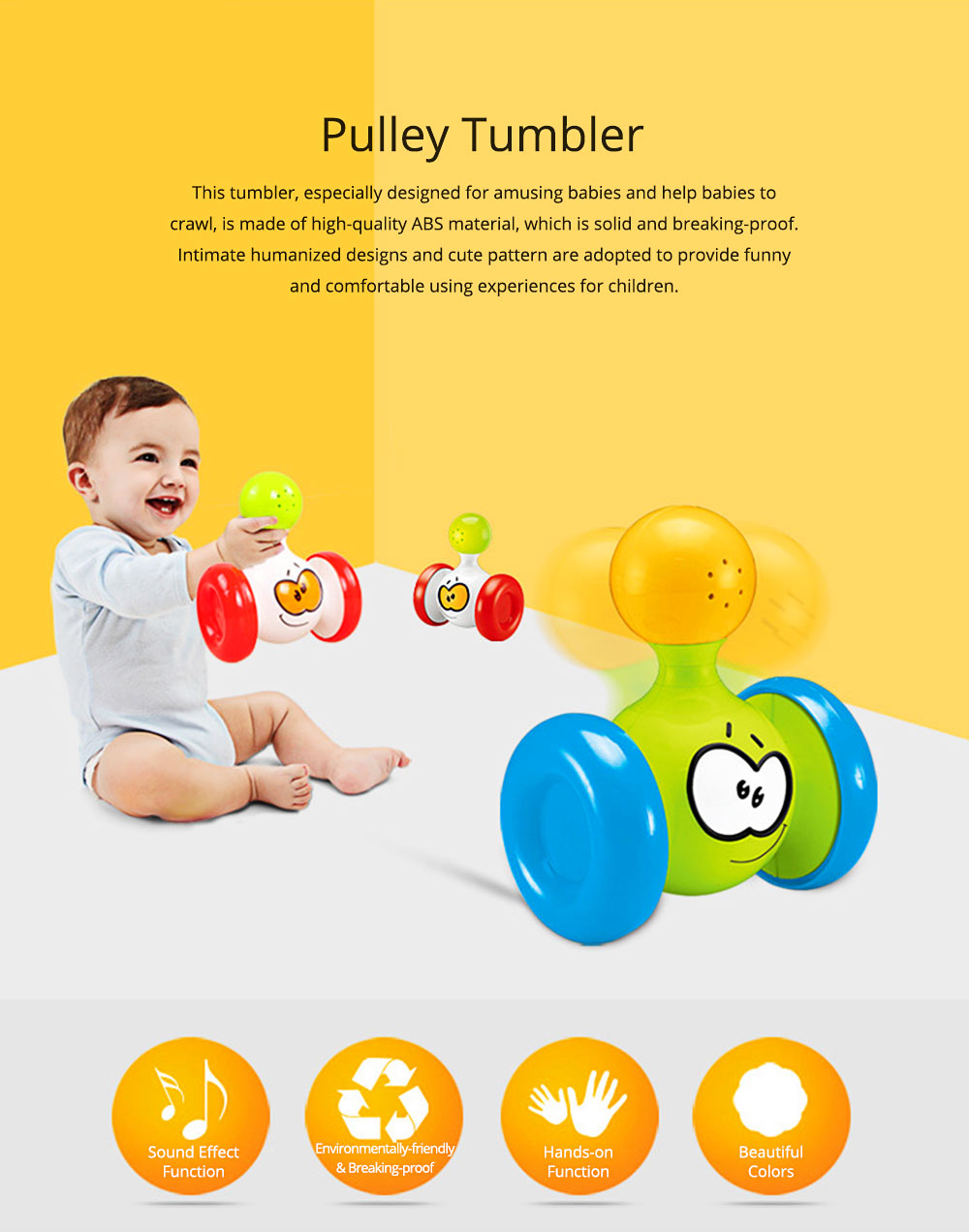 Funny Colorful Solid Plastic Pulley Tumbler Toy, Infants Babies Delicate Early Education Toy with Sound Effect 0