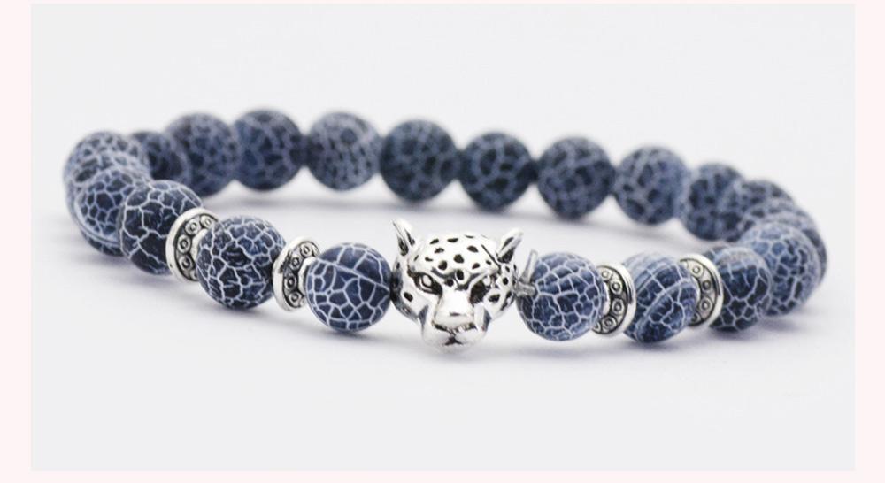 Stylish Elastic Beaded Bracelet Bangle for Men Women, Aggressive Natural Stone 8mm Beads Leopard Head Hand Chain 2