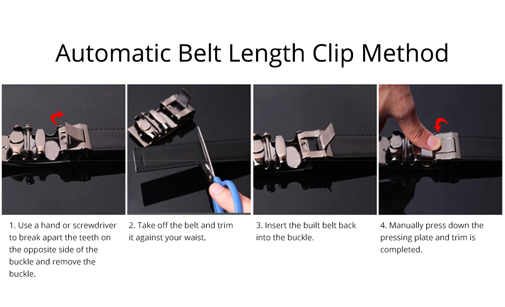 Men' Alloy Automatic Buckle Belt with Stainless Steel Buckle, Second Floor Leather Polished Stone Business Belt 10