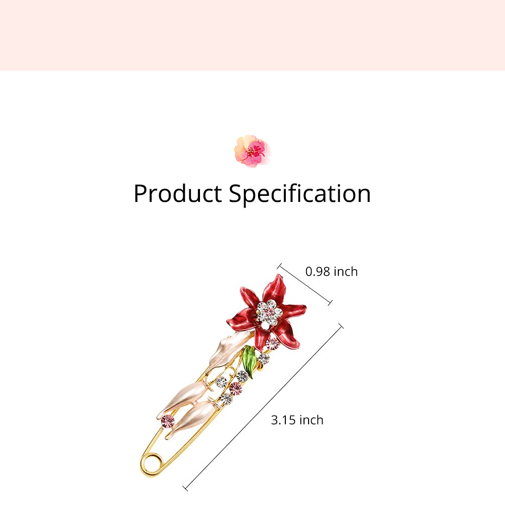 Elegant Dainty Lily Flower Dripping Alloy Breastpin for Women, Rhinestone Embellishment Bags Scarf Clothes Decoration Accessories Flower Brooch 6