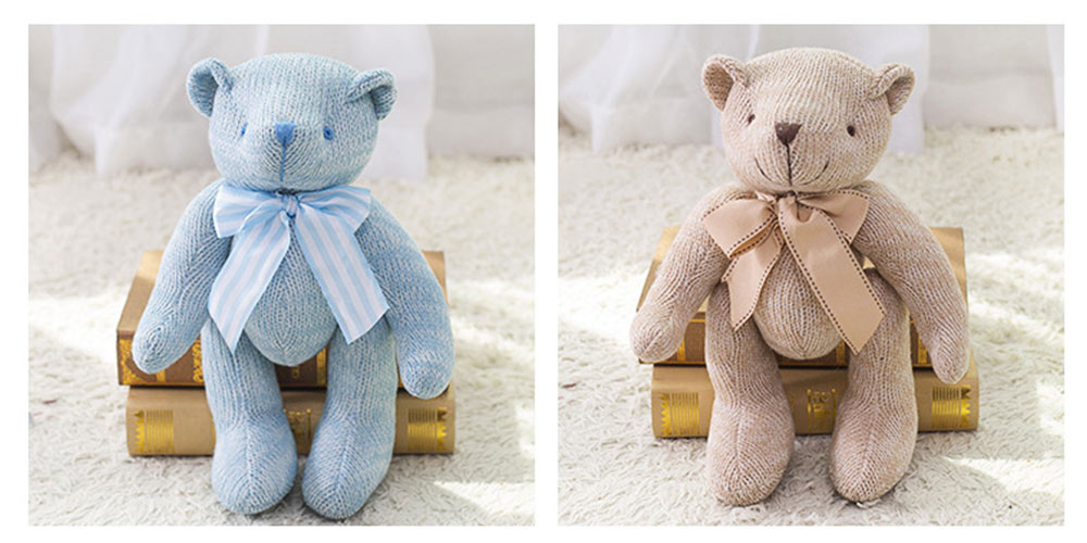 Cute Jointed Teddy Bear Doll with Bow Decoration, Animal Carton Fluffy Toy Birthday Present Gift for Children 11