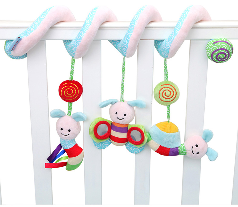 Baby Stroller Butterfly Hanging Plush Toys, Pram Bedside Winding Fluffy Pacification Toy Ornament 2