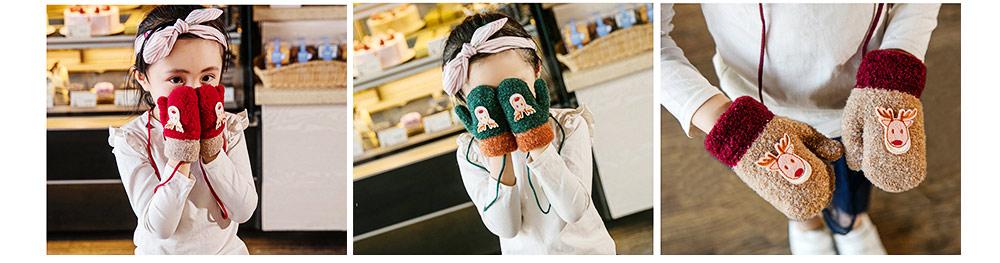 Cute Warm Children Deer Antler Beanie Cap Scarf Gloves 3 PCS Suit, Elegant Cartoon Animal Sewing Autumn Winter Christmas Accessories Set for Children 9