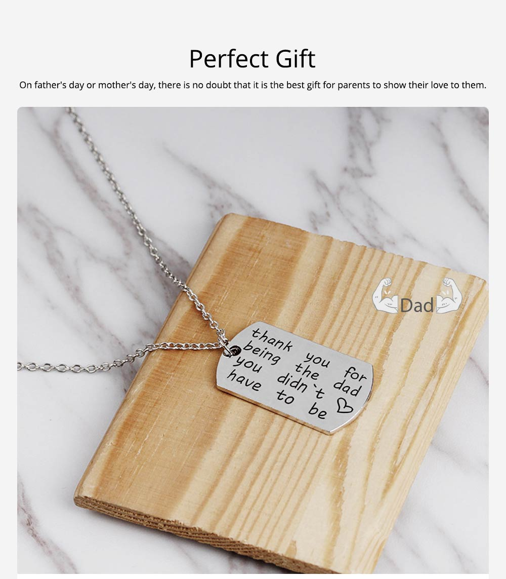 Zinc Alloy Necklace Pendant with Smear Lettering Letters & Perfect texture Lines, Father's Day Gift 3