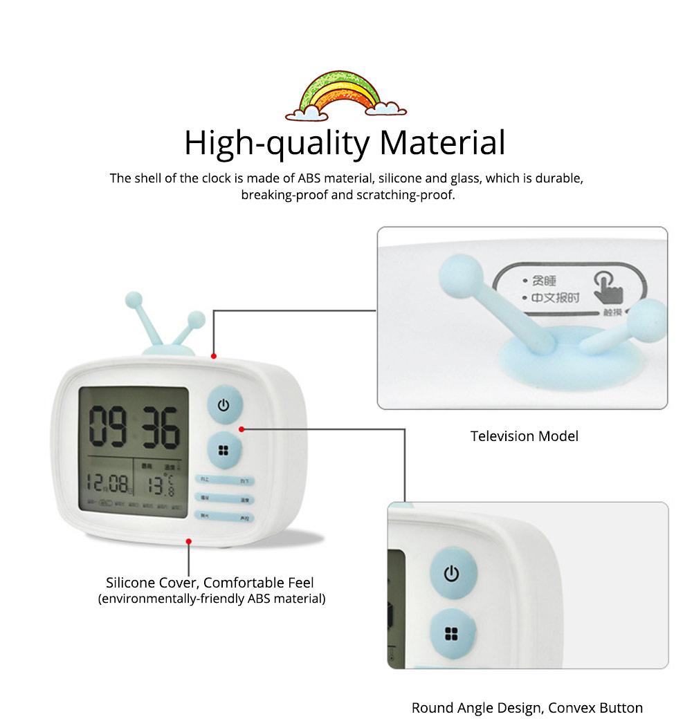 Creative Television Model Intelligent Digital Alarm Clock Watch, Stylish Funny Clock with Sound Reminder Two Light 1