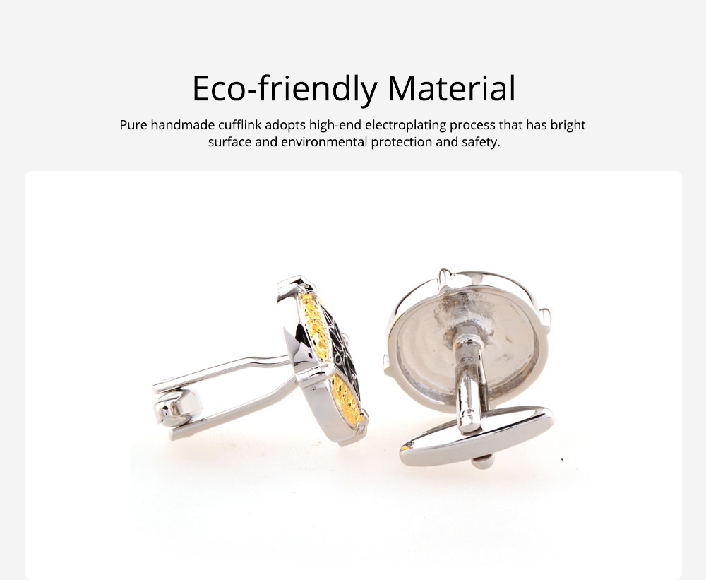 French Style Cuff Links, Classical Cufflink of Color Matching, Electroplating Fashion Buttons 1