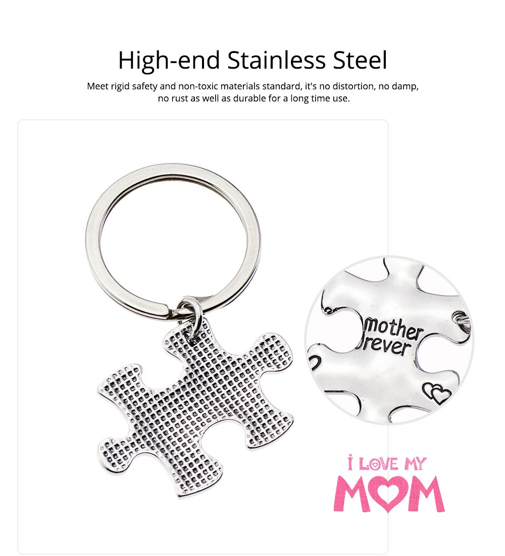 Mother Daughter Inspirational Key Chain, Stainless Steel Engraved Key Chain Universal Key Ring Pendant 1