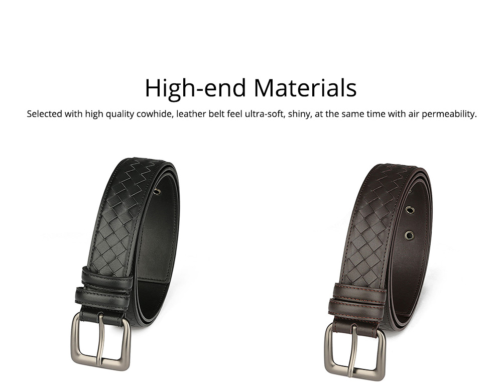 Father's Day Woven Men's Belt, First Layer Leather Belt with Texture Alloy Pin Buckle, Automatic Buckle Business Belt 6